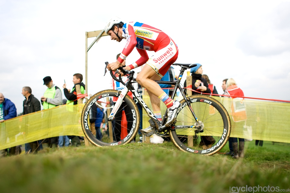 Vinnie Braet during the first round of the Bpost Trofee cyclocross race in Ronse, Belgium.