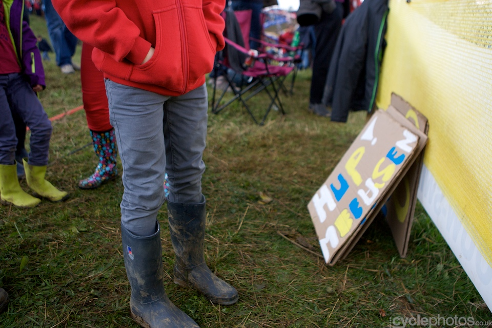 A young Tom Meeusen supporter during the first round of the Bpost Trofee cyclocross race in Ronse, Belgium.