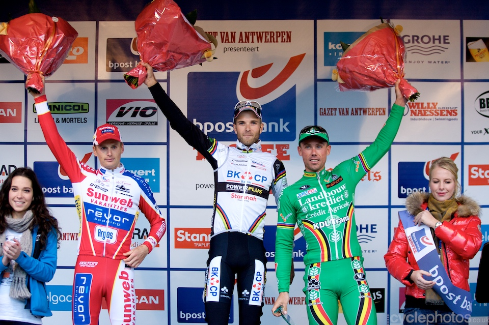 Kevin Pauwels, Niels Albert and Sven Nys on the podium of the first round of the Bpost Trofee cyclocross race in Ronse, Belgium.