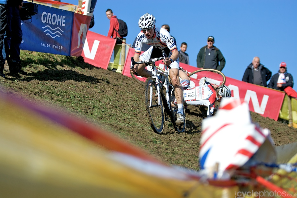 A junior rider crashes during the first round of the Bpost Trofee in Ronse, Belgium.