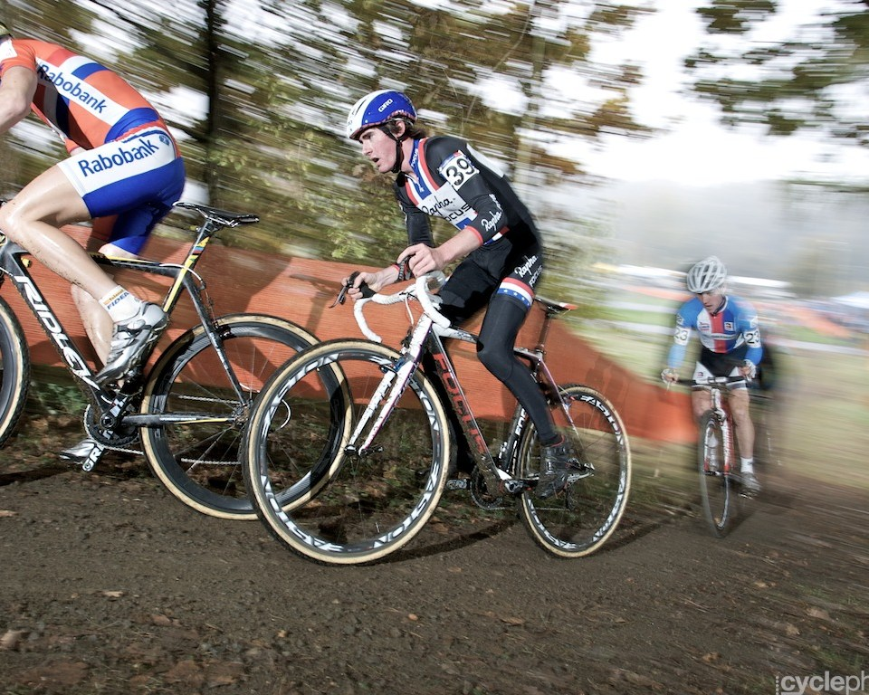 Zach McDonald in the first lap of the the first round of the cyclocross U23 World Cup in Tabor, Czech Republic.