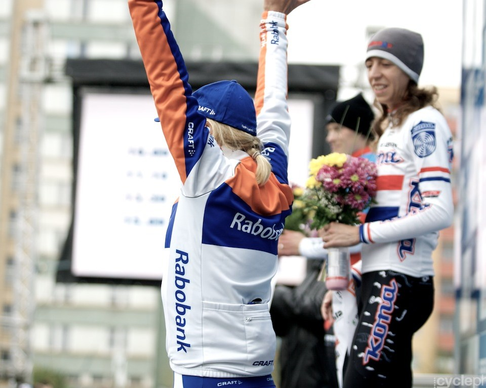 Sanne van Passen on the podium of the first round of the cyclocross women's World Cup in Tabor, Czech Republic.