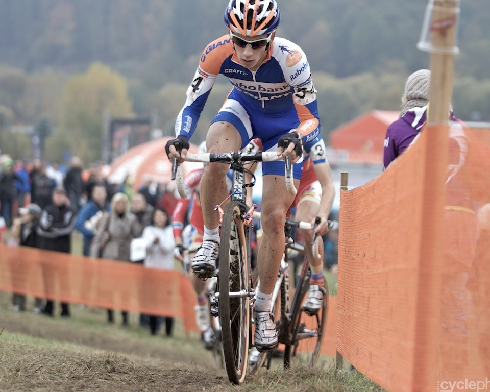 Lars van der Haar in the front of the race in the second lap of the first round of the cyclocross men's World Cup in Tabor, Czech Republic.