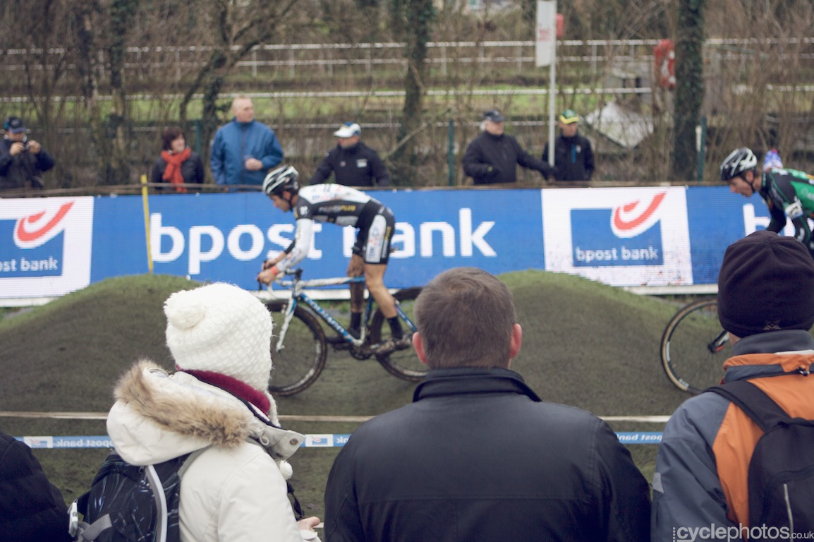 Riders negotiate the pump track in the second lap of the fifth round of the Bpost Bank Trofee Azencross in Loenhout.
