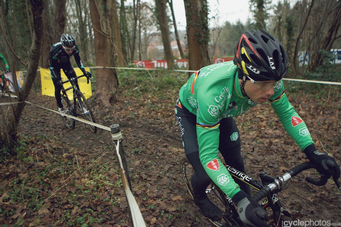 Sven Nys during course recce, only minutes after the end of the juniors' race