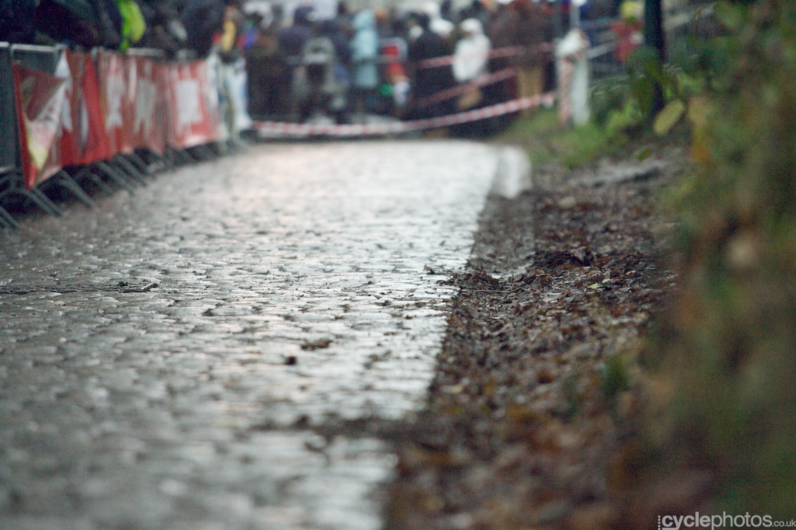 A climb with wet cobblestones - just to make the day more fun for the riders