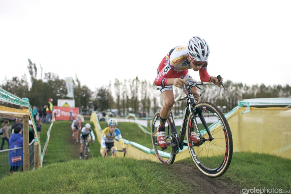 Gianni Vermersch rides in the first lap of the U23 cyclocross Superprestige race in Ruddervorde.