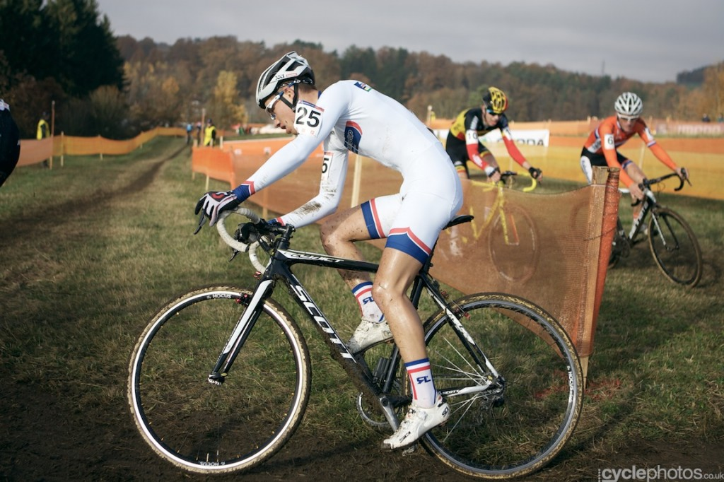 Lucas Dubau rides in the last lap of the juniors' cyclocross World Cup race in Tabor.