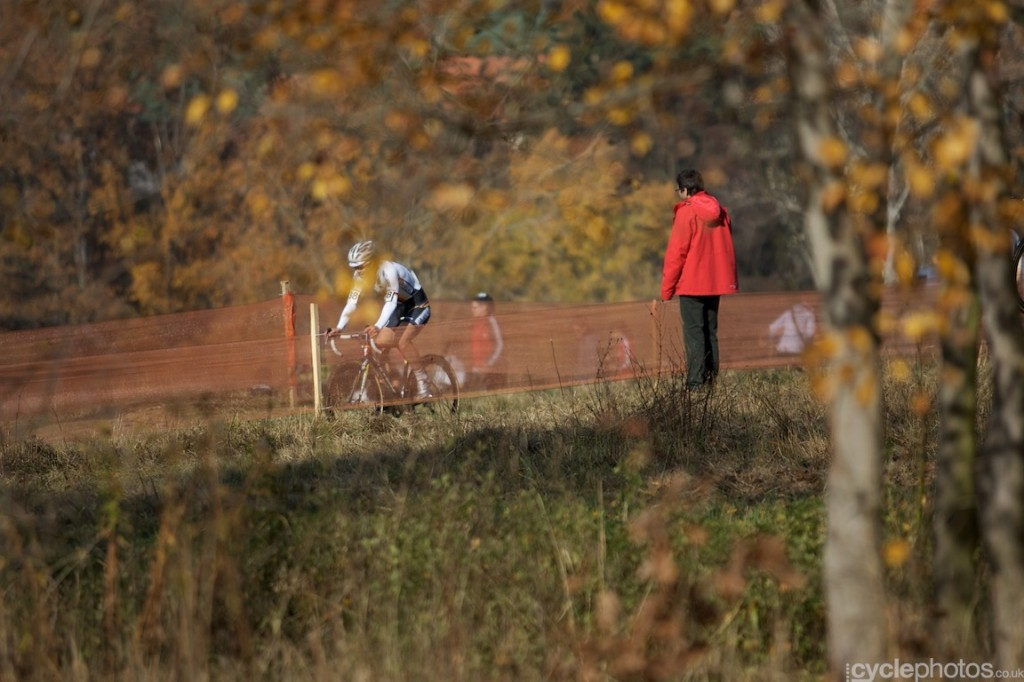 U23 riders ride in the third lap of the U23's cyclocross World Cup race in Tabor.
