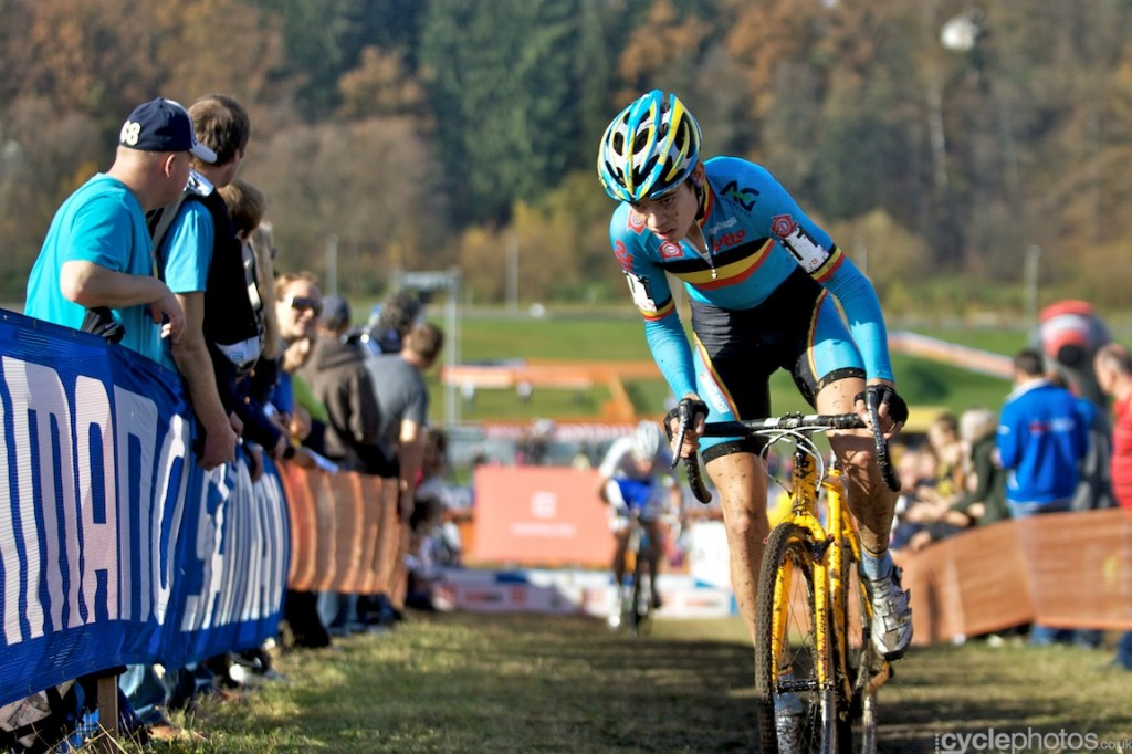 Wout van Aert chases the front of the race in the fifth lap of the U23 riders ride in the third lap of the U23's cyclocross World Cup race in Tabor.
