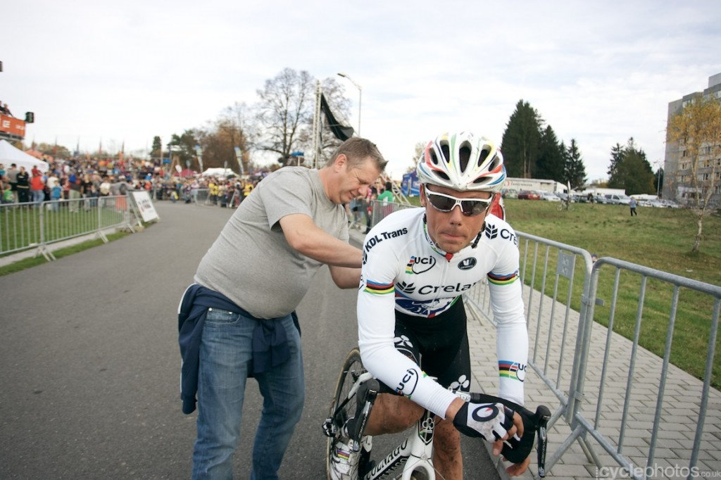 Sven Nys, after finishing the elite men's cyclocross World Cup race in Tabor