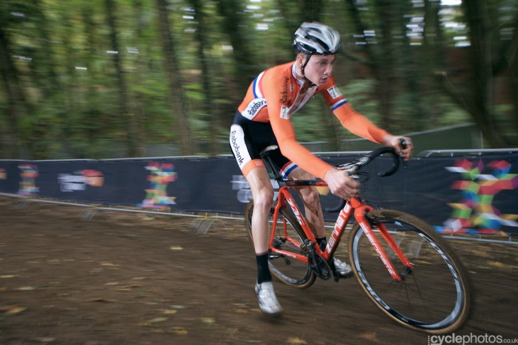 Mathieu van der Poel rides in the fourth lap of the first U23 World Cup race in Valkenburg
