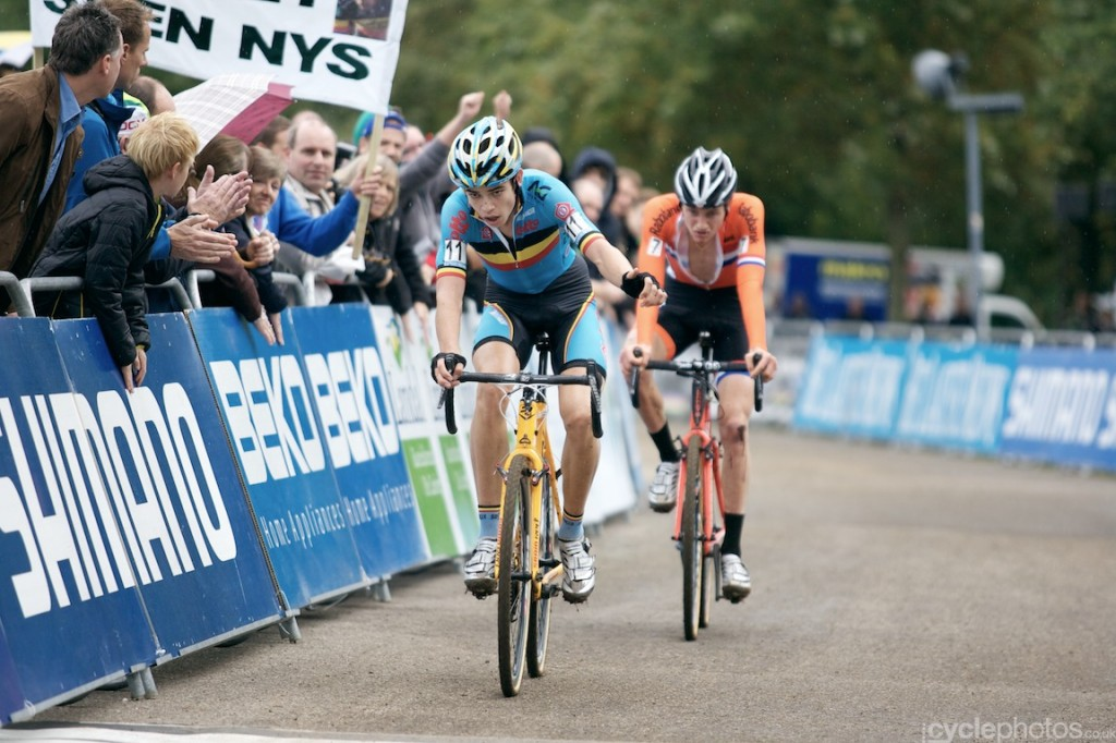 Wout van Aert beats Mathieu van der Poel in a sprint finish for second place during the first U23 cyclocross World Cup in Valkenburg