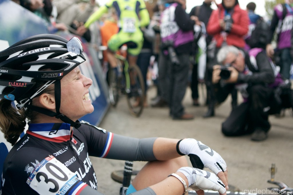 An exhausted Caroline Mani, after finishing at the 10th place at the women's cyclocross World Cup race at Valkenburg