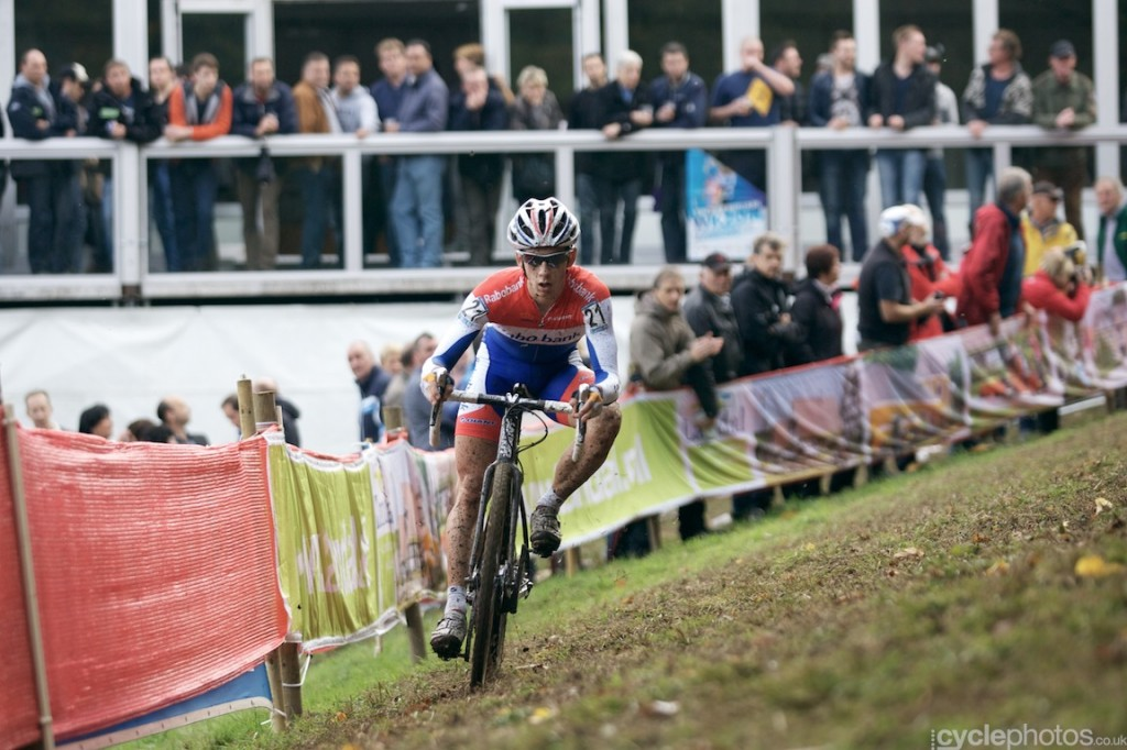 Lars van der Haar tackles an off camber section in the second lap of the elite men's cyclocross World Cup race at Valkenburg.