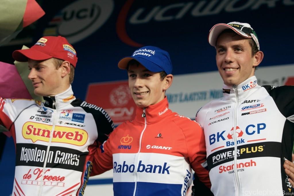 The podium of the elite men's cyclocross World Cup race in Valkenburg, with Kevin Pauwels (l), Lars van der Haar (m) and Philip Walsleben (r)