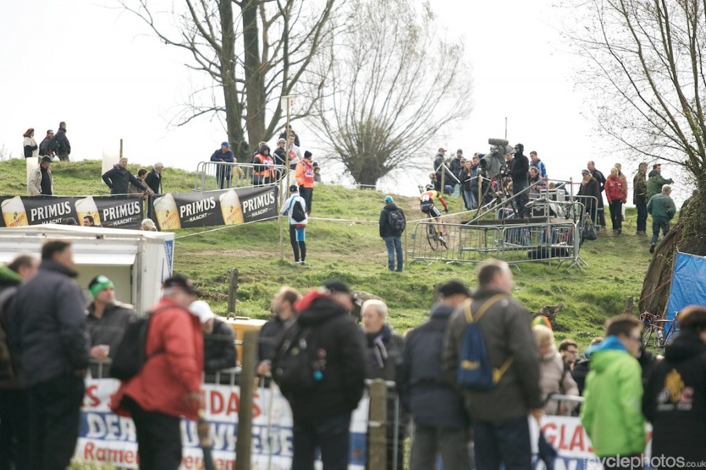 Laurens Sweeck rides in second lap of the U23's Bpost Bank Trofee race at Koppenberg.