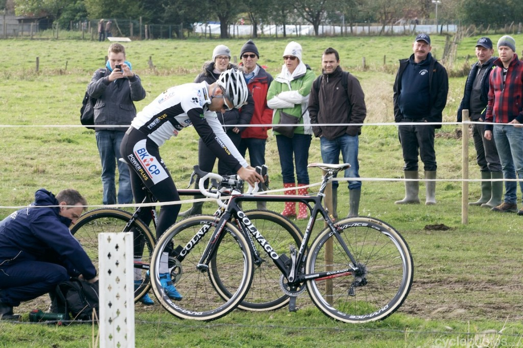 Niels Albert dials in disc brake-equipped Colnago before the Koppenbergcross race