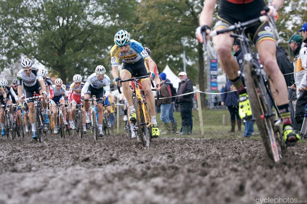 Rob Peeters rides through the first muddy section of the elite men's cyclocross Bpost Bank Trofee race at Koppenberg.
