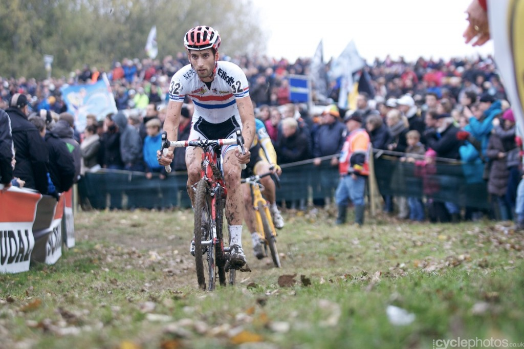 Ian Field and Rob Peeters ride in the third lap of the elite men's cyclocross Bpost Bank Trofee race at Koppenberg.