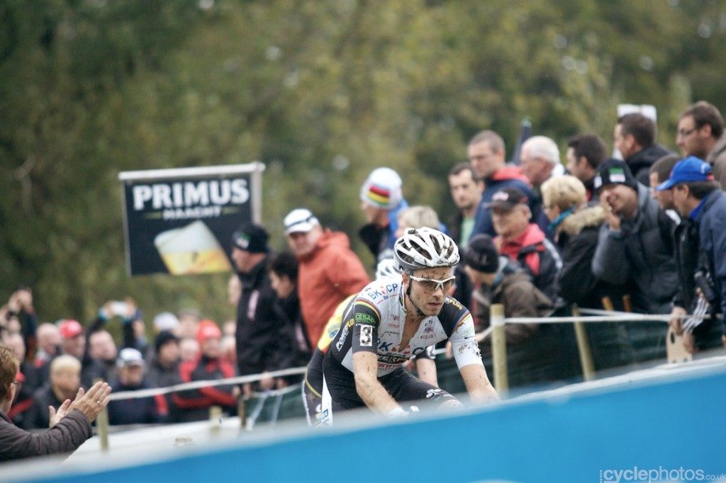 Niels Albert rides in the sixth lap of the elite men's cyclocross Bpost Bank Trofee race at Koppenberg.