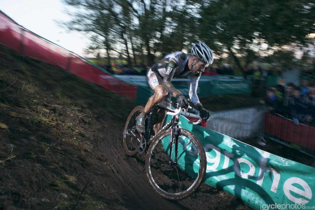 Niels Albert rides in the last lap of the elite men's cyclocross Superprestige race in Hamme-Zogge