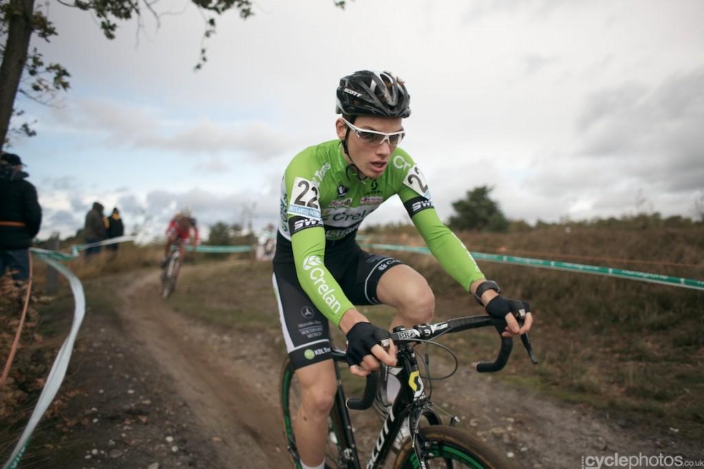 Joeri Hofman rides in the second lap of the U23 Superprestige race in Zonhoven.