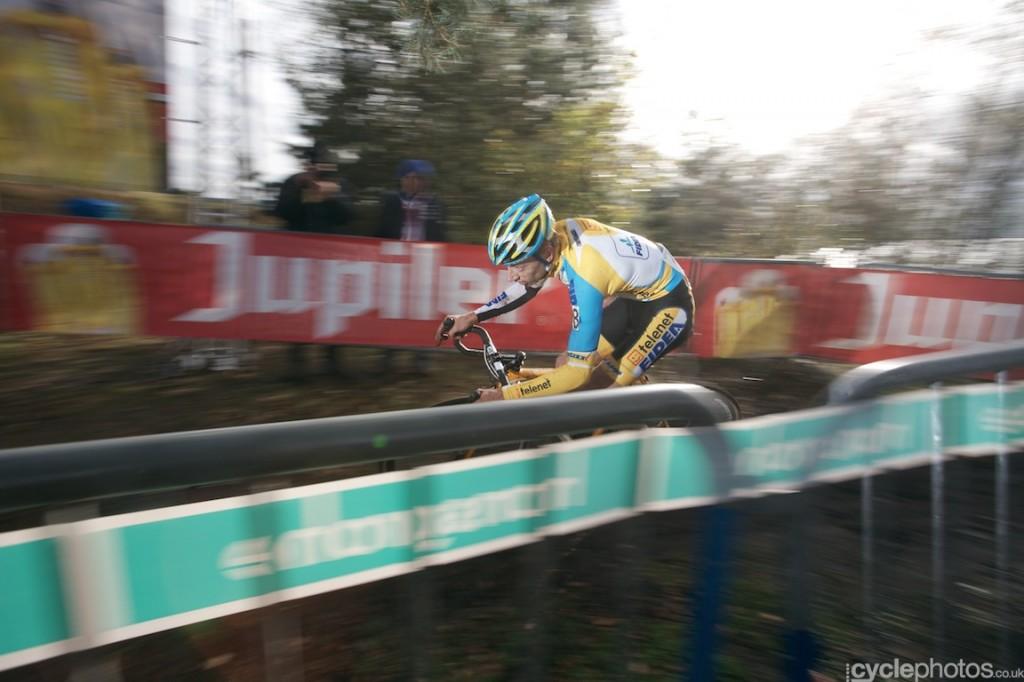 Quinten Hermans rides in the last lap of the U23 Superprestige race in Zonhoven.