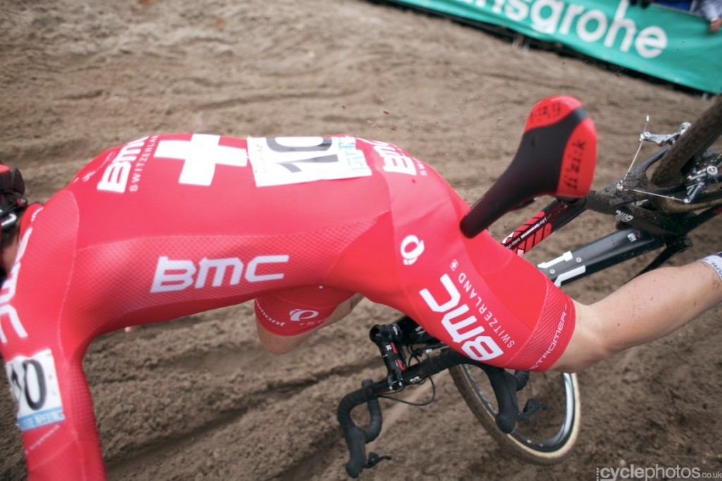 Julien Taramarcaz crashes in the first lap of the elite men's Superprestige cyclocross race in Zonhoven.