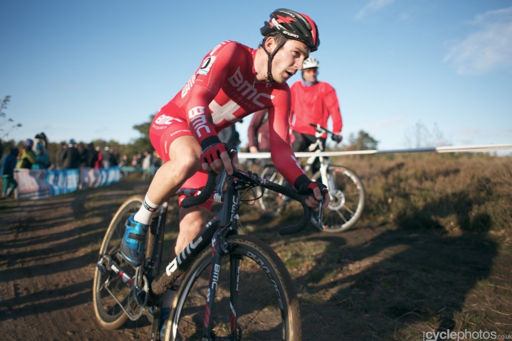 Klaas Vantornout rides in the fifth lap of the elite men's Superprestige cyclocross race in Zonhoven.