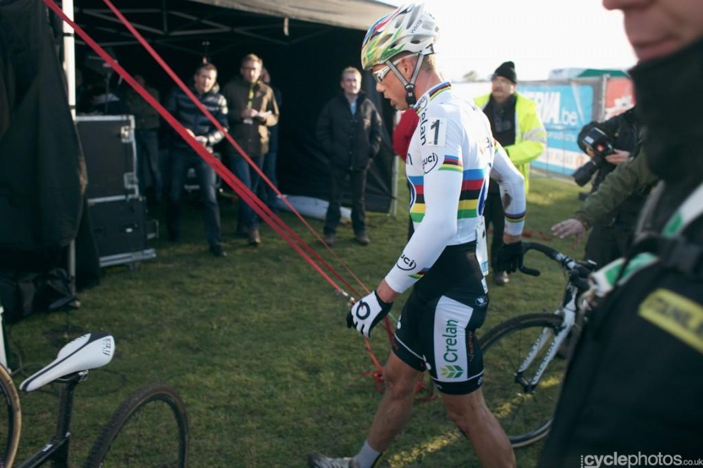 Sven Nys walks towards the TV tent after winning the Zonhoven Superprestige cyclocross race