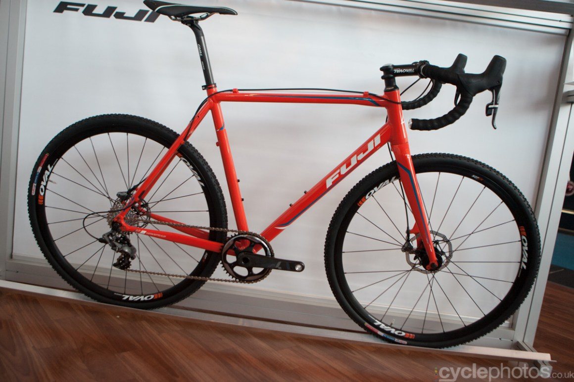 The Fuji 1.1 Cross Disc cyclocross bike at the 2014 Eurobike Bike show in Friedrichshafen, Germany.