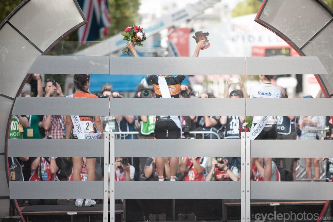 The podium of the 2014 Prudential RideLondon Grand Prix.