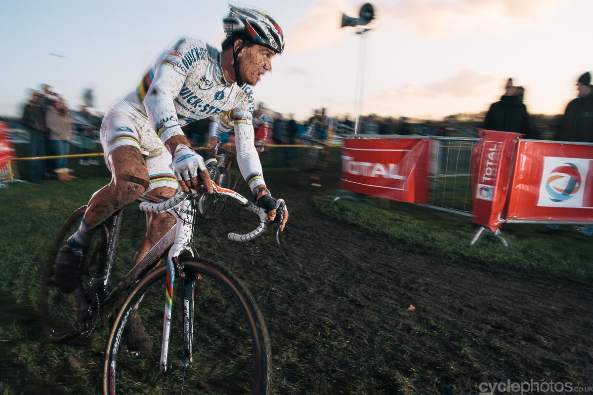 Zdenek Stybar rides in the penultimate lap of the 2011 Superprestige cyclocross race in Gieten.