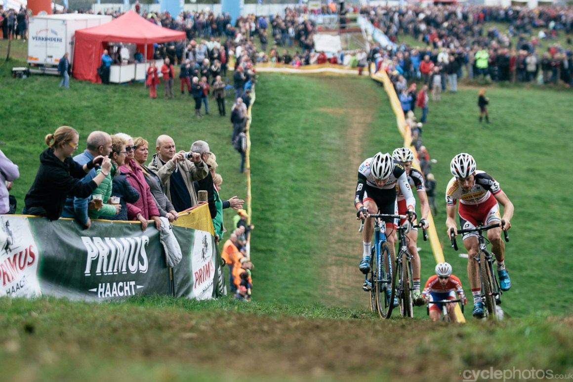 Mathieu van der Poel tries to overtake Kevin Pauwels in the fifth lap of the Bpost Bank Trofee cyclocross race in Ronse. Photo by Balint Hamvas / cyclephotos.co.uk
