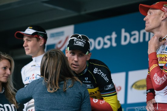 The podium of the Bpost Bank Trofee cyclocross race in Ronse. Photo by Balint Hamvas / cyclephotos.co.uk