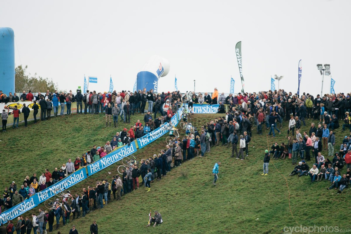 Distant view of the Bpost Bank Trofee cyclocross race in Ronse. Photo by Balint Hamvas / cyclephotos.co.uk