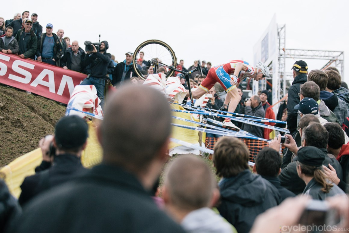 Klaas Vantornout's memorable crash in the first lap of the 2012 edition of the Bpost Bank Trofee cyclocross race in Ronse in 2012