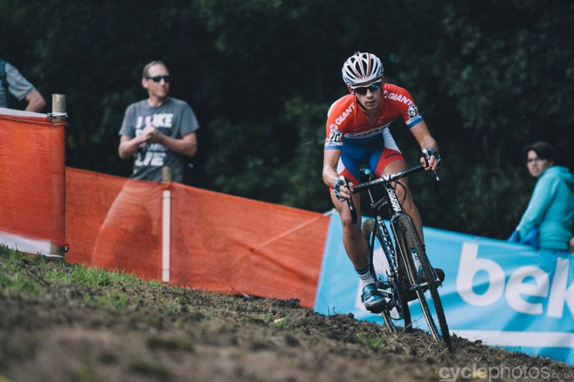 Lars van der Haar leads the of the first cyclocross World Cup race of the 2014/2015 season in Valkenburg.