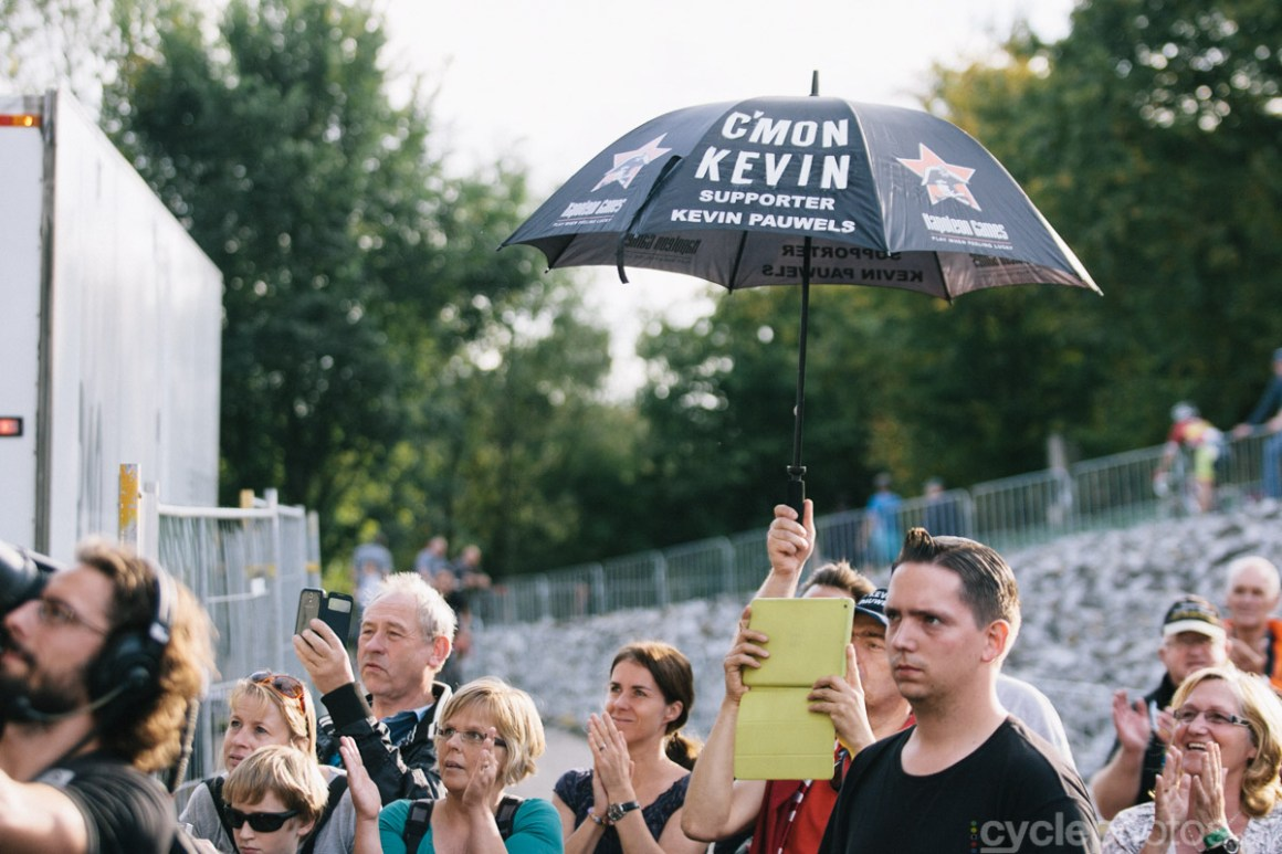 Kevin Pauwels supporters express their joy after of the first cyclocross World Cup race of the 2014/2015 season in Valkenburg.