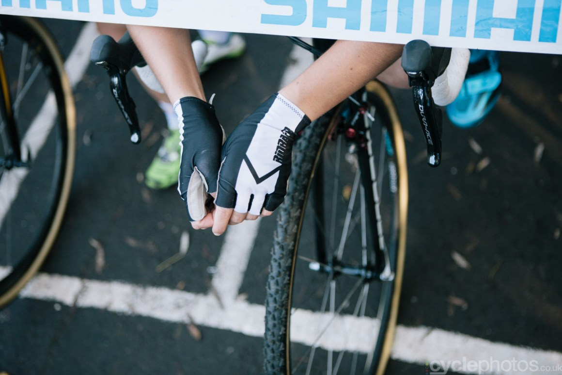 Sanne Cant just minutes before the first cyclocross World Cup race of the 2014/2015 season in Valkenburg.