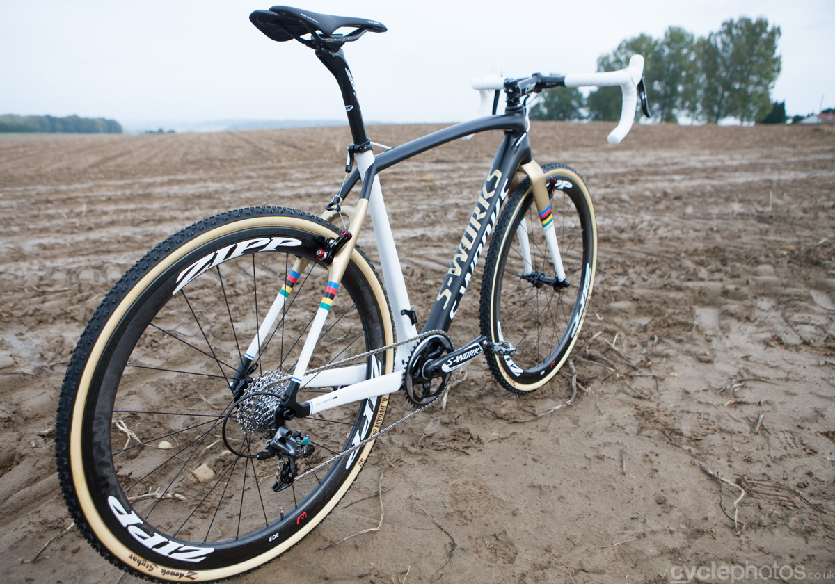 Zdenek Stybar's Specialized Crux cyclocross bike before the Bpost Bank Trofee race in Ronse, in 2014.