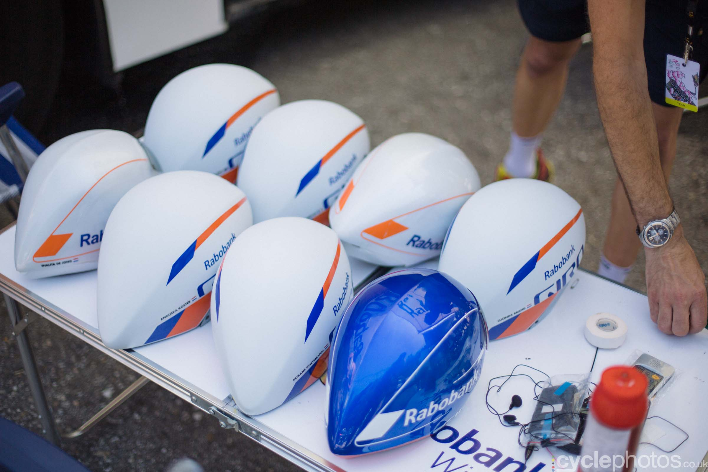 Rabobank helmets during the 8th Stage of the 2015 Giro Rosa