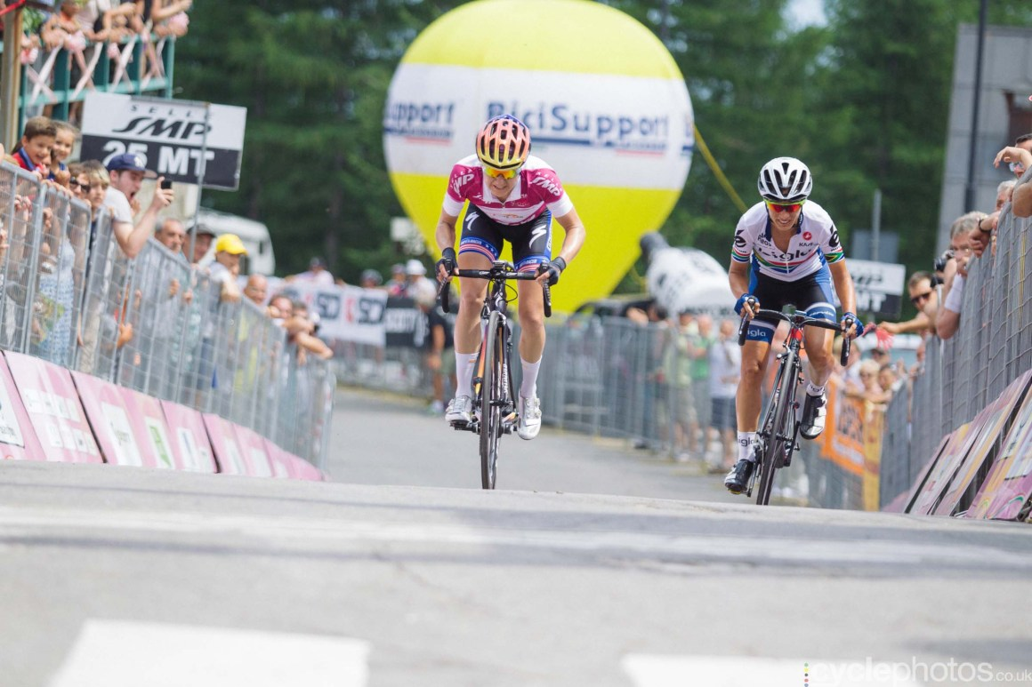 Megan Guarnier during theMara Abbott during the 9th stage of the 2015 Giro Rosa