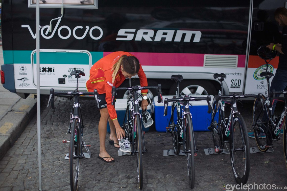Carlee Taylor before the 2015 edition of the La Course by Le Tour women's road cycling race.