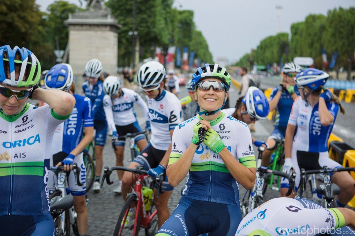 Lizzie Williams before the 2015 edition of the La Course by Le Tour women's road cycling race.