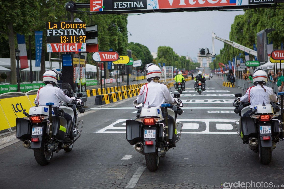 Police outriders during the the 2015 edition of the La Course by Le Tour women's road cycling race.