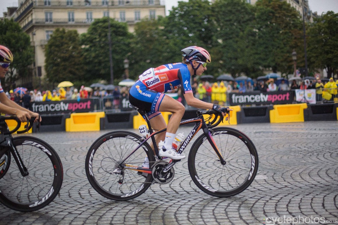 Megan Guarnier during the 2015 edition of the La Course by Le Tour women's road cycling race.