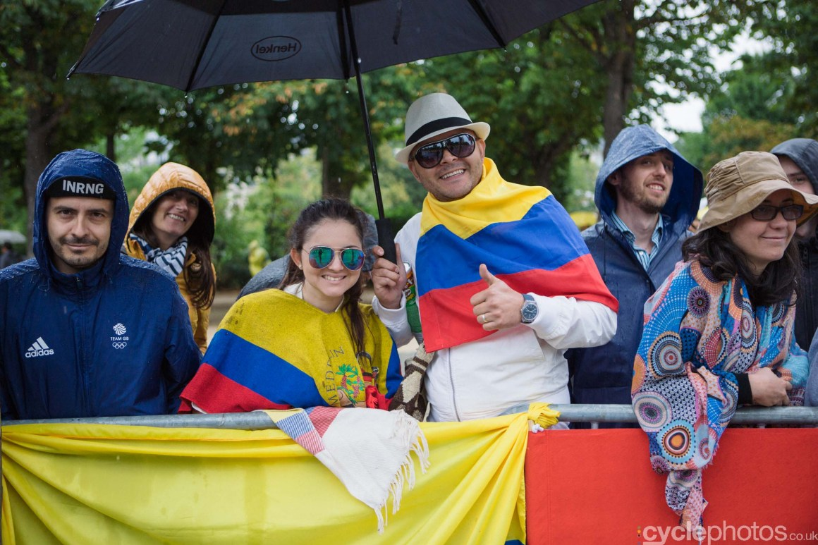 Colombian fans during the 2015 edition of the La Course by Le Tour women's road cycling race.