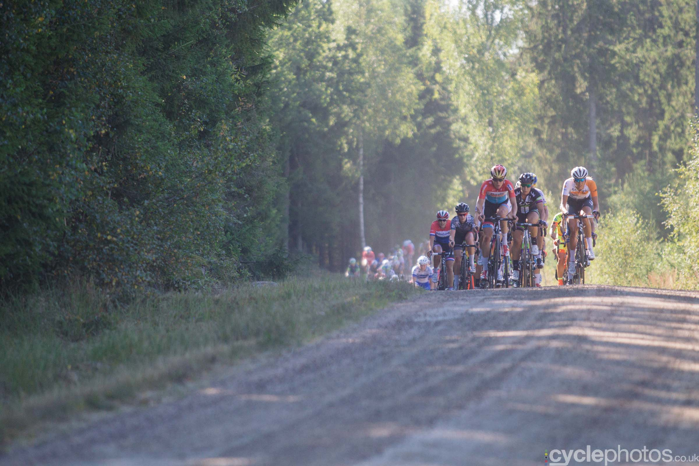 Christine Majerus leads the peloton through the gravel section during the 2015 edition of the Vargarda women's World Cup race